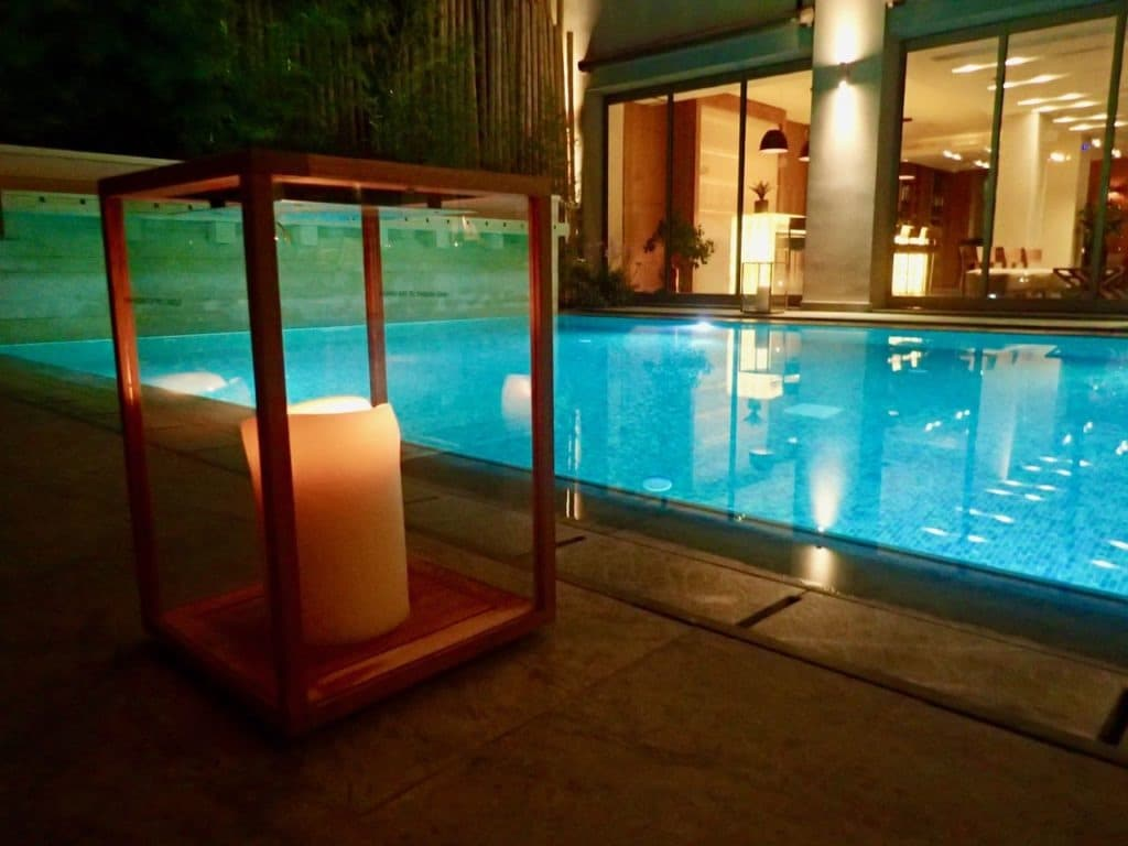 Samaria Hotel Chania pool evening lights review
