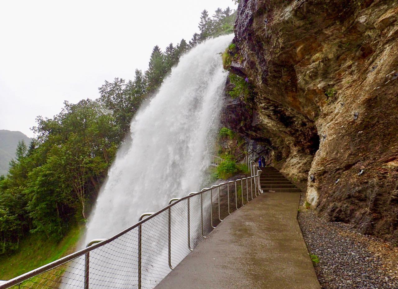 Road trip Norway Steindalsfossen waterfall walkway