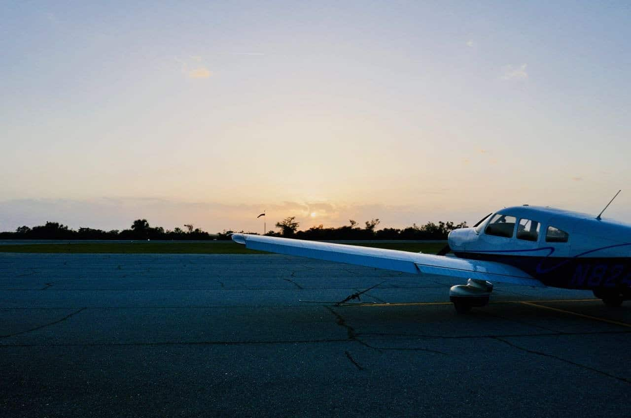 Jekyll island airport plane sunset bike trip