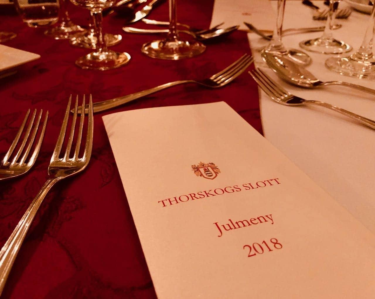 Thorskogs slott castle Christmas menu dinner review