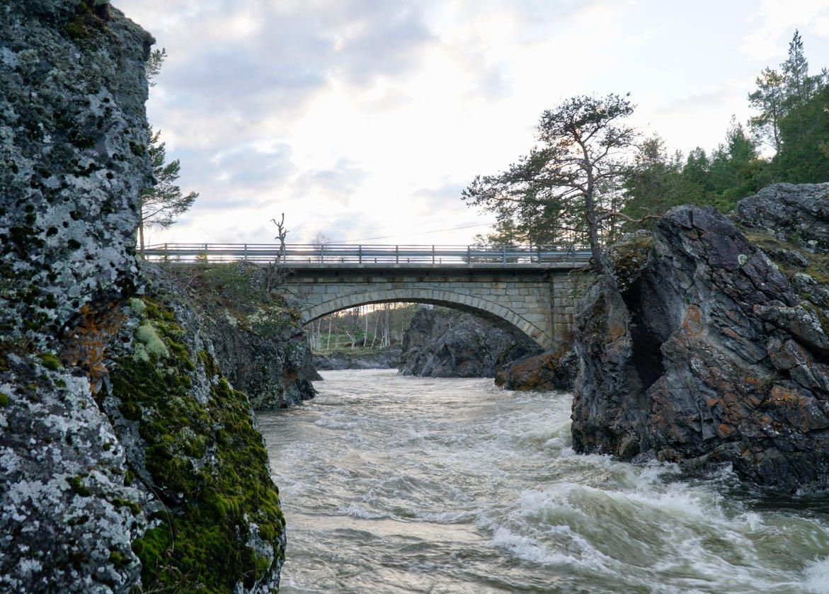Bridge over Gudbrandsdalslågen. Elk safari on ebikes in Dovre