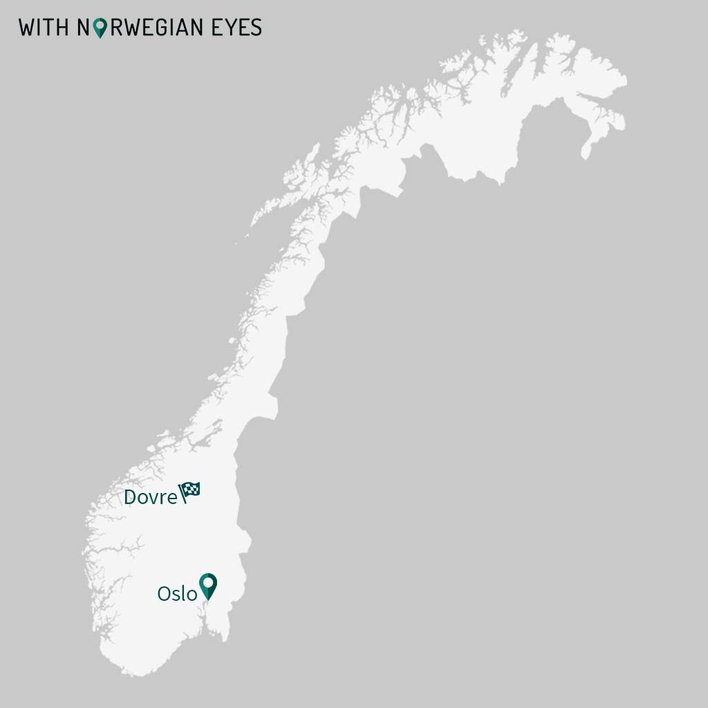 Dovre and Oslo map. Elk safari on ebikes in Dovre