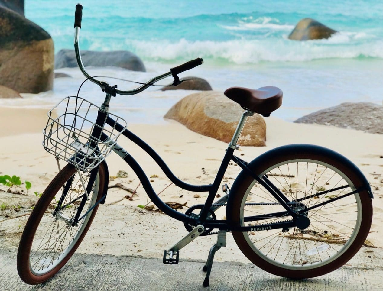 Bike at beach Silhouette Island, Hilton Labriz Seychelles Resort and Spa Tips and practical information about Seychelles
