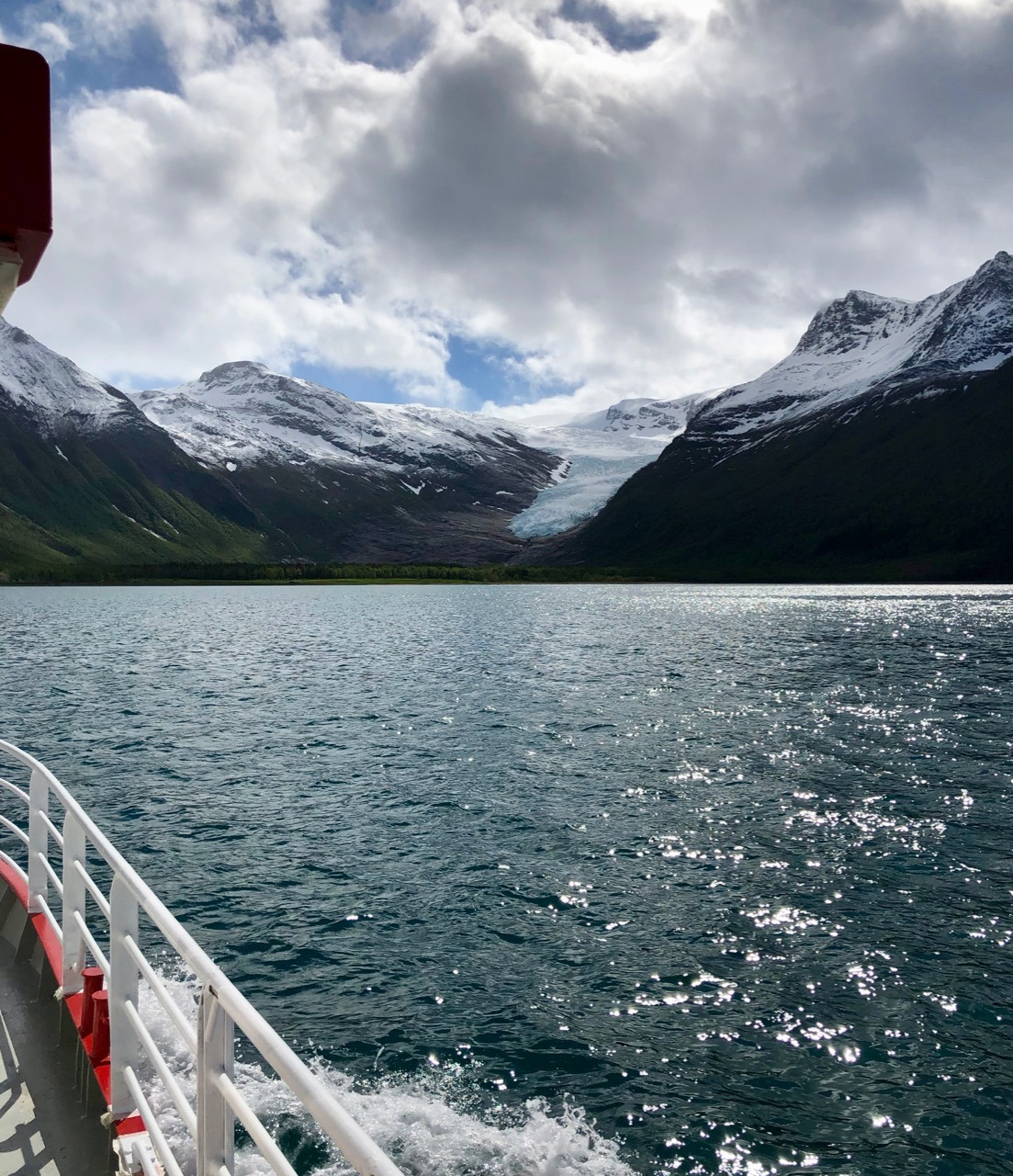 Svartisen Engabreen glacier view from Isprinsen boat shuttle