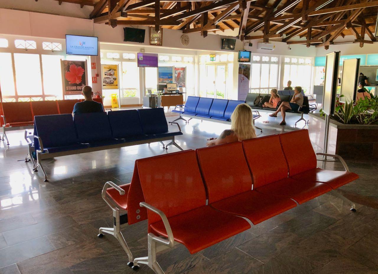 Review Air Seychelles Mahe Praslin waiting area Praslin