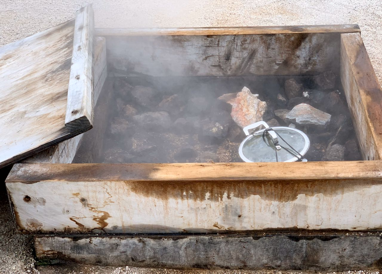 Cooking in hot pools, Whakarewarewa, A Geothermal Māori Village