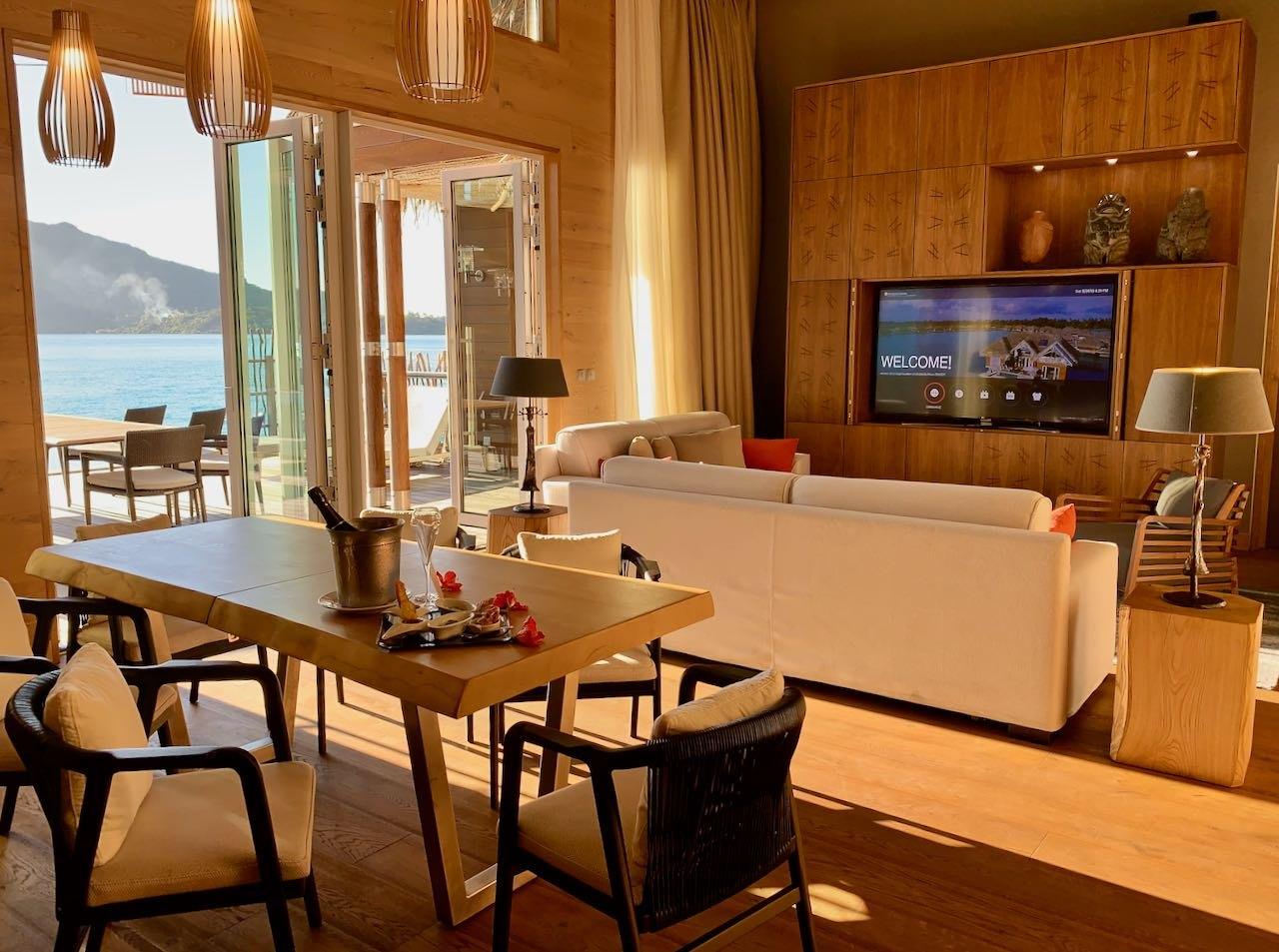 Living room and veranda The Brando Suite at the InterContinental Bora Bora Thalasso Review