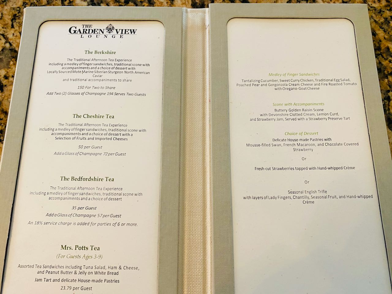 Menu Afternoon Tea Disney's Grand Floridian Resort & Spa Orlando review