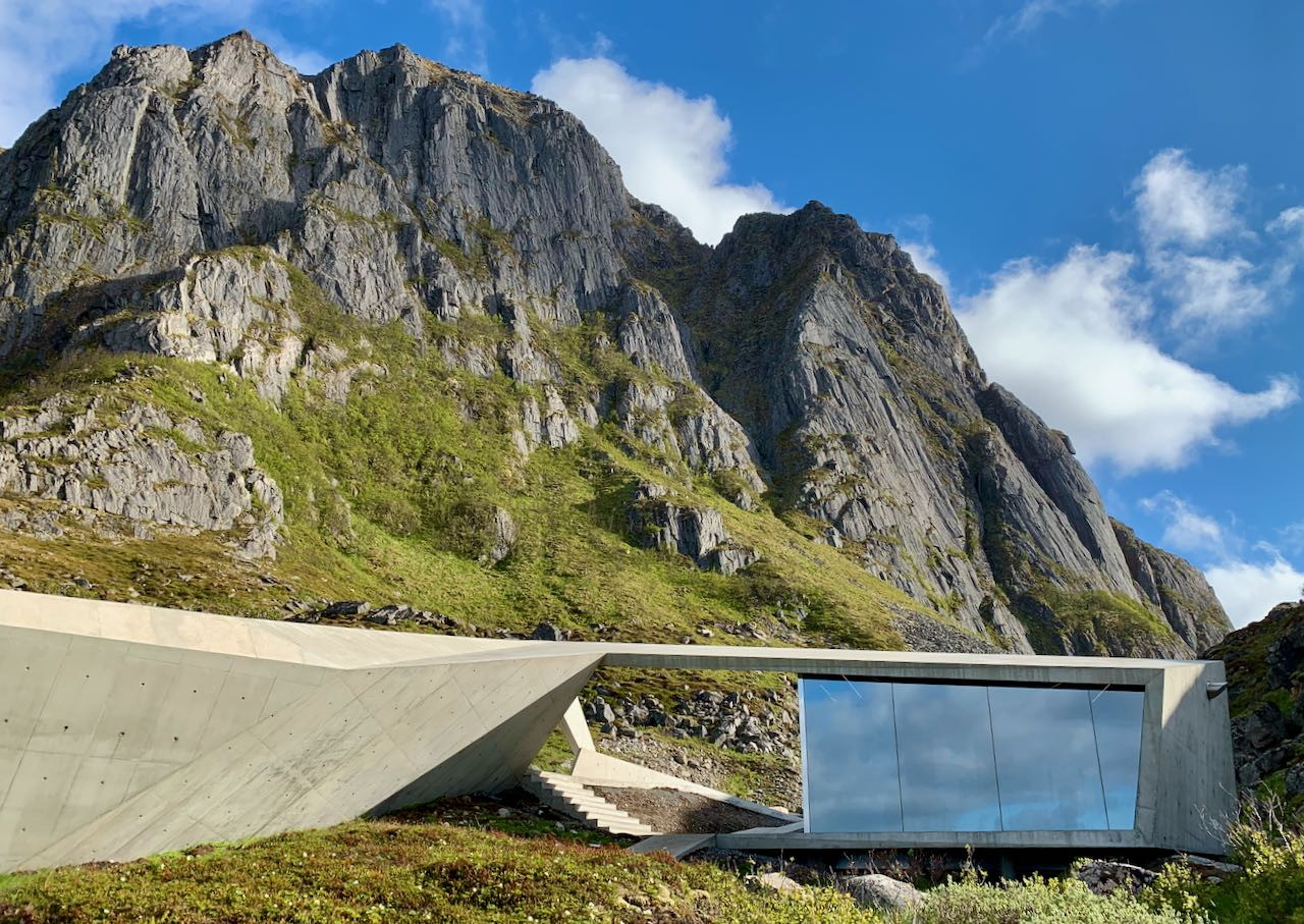norwegian scenic route andøya view of mountain and restroom
