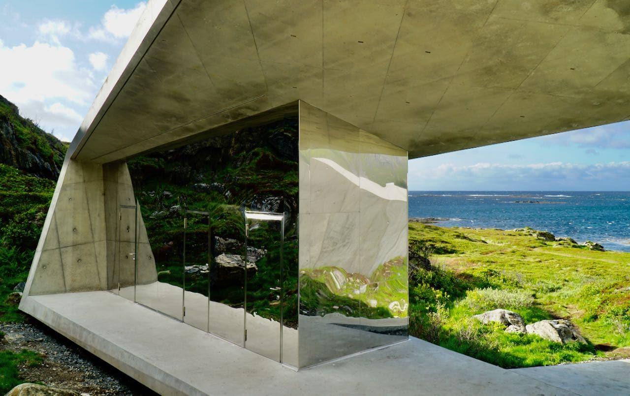 norwegian scenic route andøya view of restroom and ocean