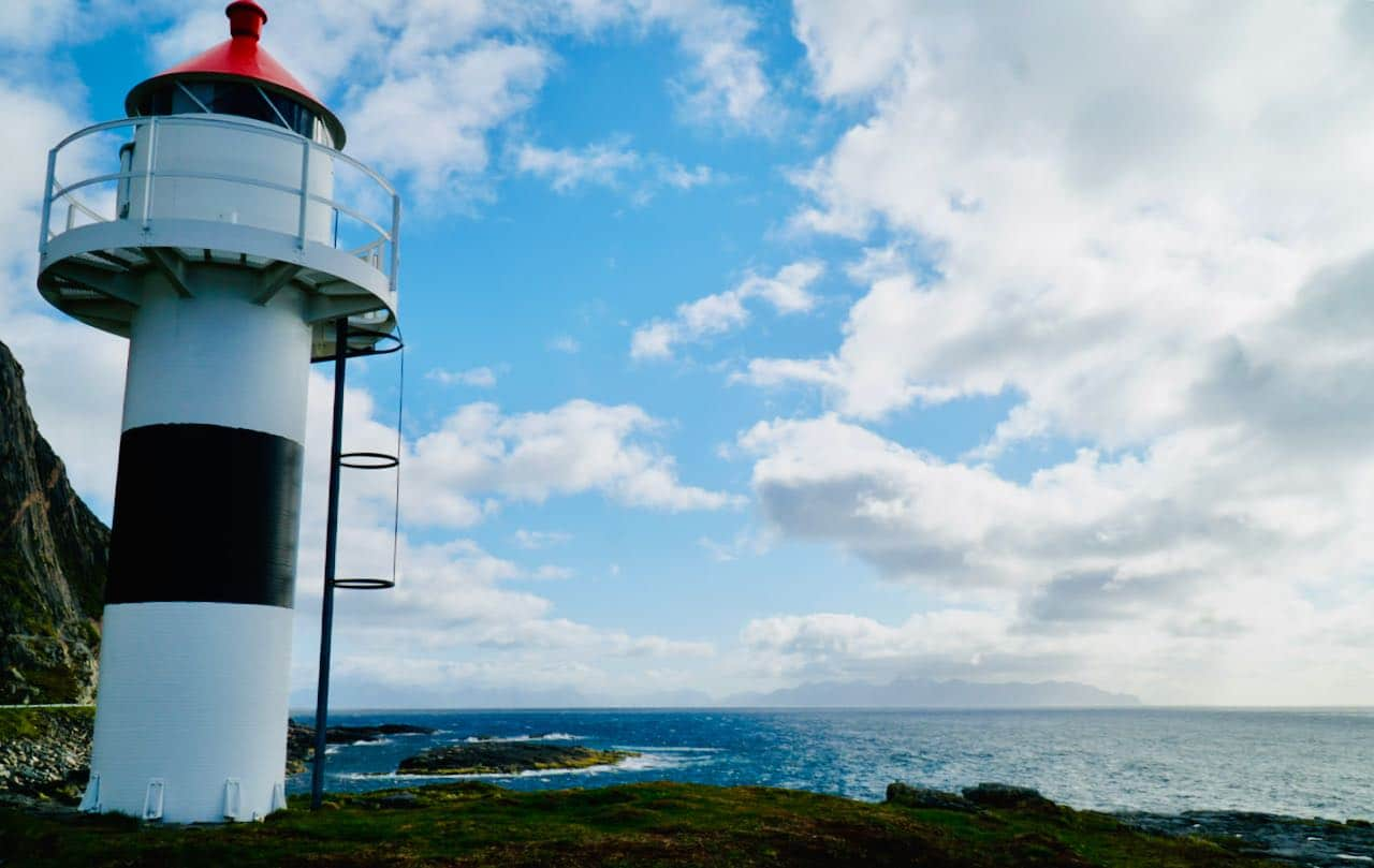 norwegian scenic route andøya view of lighthouse and ocean