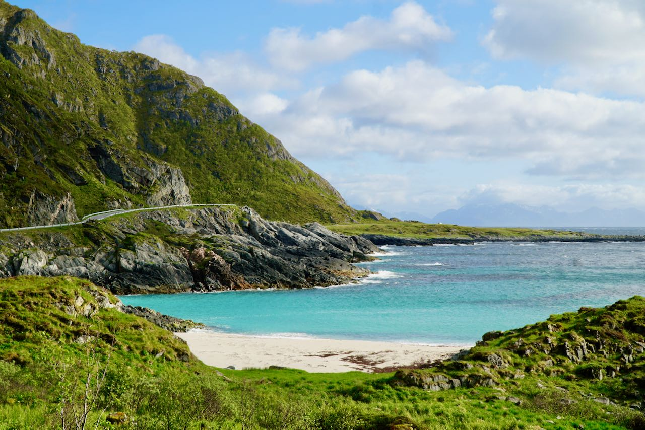 norwegian scenic route andøya view of road and beach