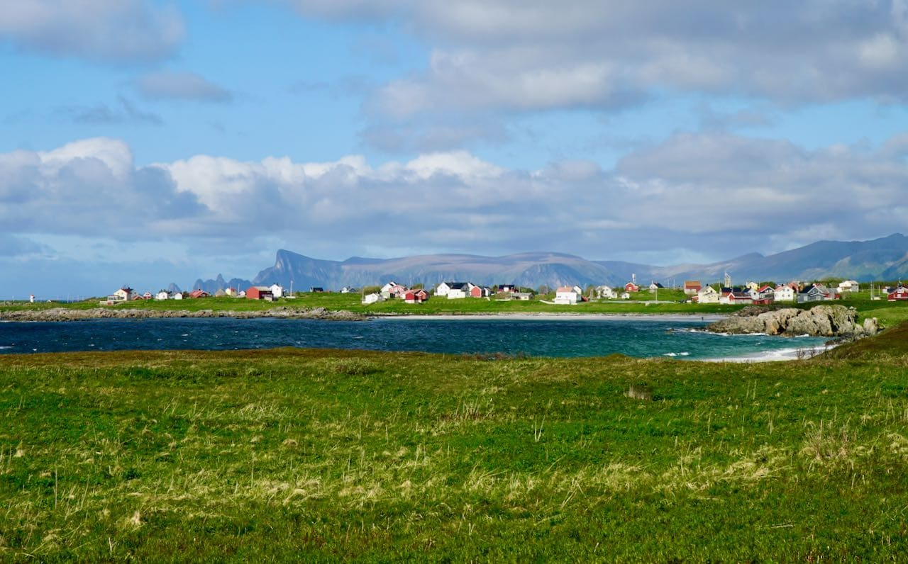 norwegian scenic route andøya view of village and ocean