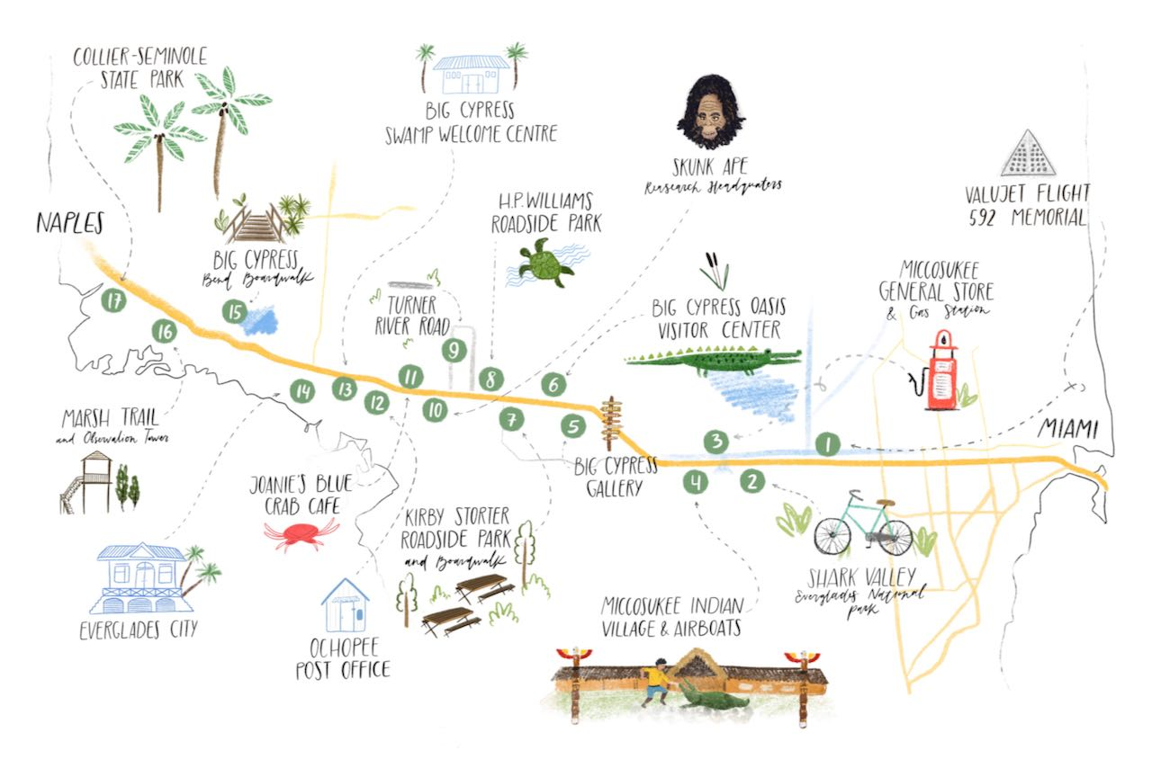 Map of 17 Attractions and Places to Stop Along the Tamiami Trail/U.S. Highway 41 between Miami and Naples