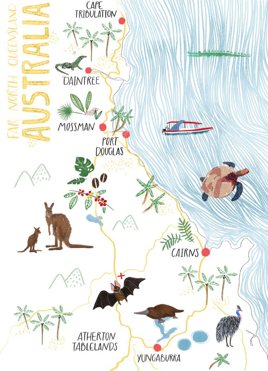 Cairns Road Trip Map Illustration
