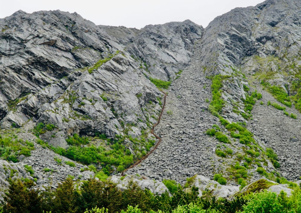 RAVNFLOGET (Norwegian Scenic Route Helgelandskysten): The Vega stairs go up to the top of Ravnfloget mountain.