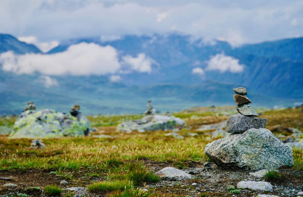VALDRESFLYE (Norwegian Scenic Route Valdresflye): If you take the trip over the Valdresflye mountain plateau you will see large and small stone cairns along the road.