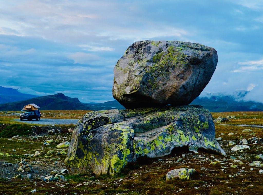 """STEINPLASSEN (Norwegian Scenic Route Valdresflye): The artwork """"Rock on Top of Another Rock."""""""