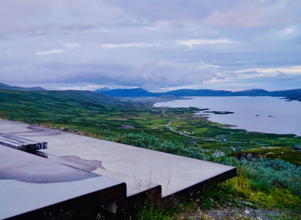 RJUPA (Norwegian Scenic Route Valdresflye): Vinstervatn Lake and Jotunheimsvegen Road seen from the viewpoint Rjupa.