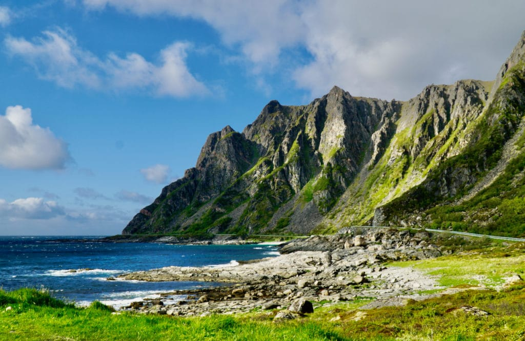 ANDØYA (Norwegian Scenic Route Andøya): Majestic mountains plunge into the sea along the Norwegian Scenic Route of Andøya.