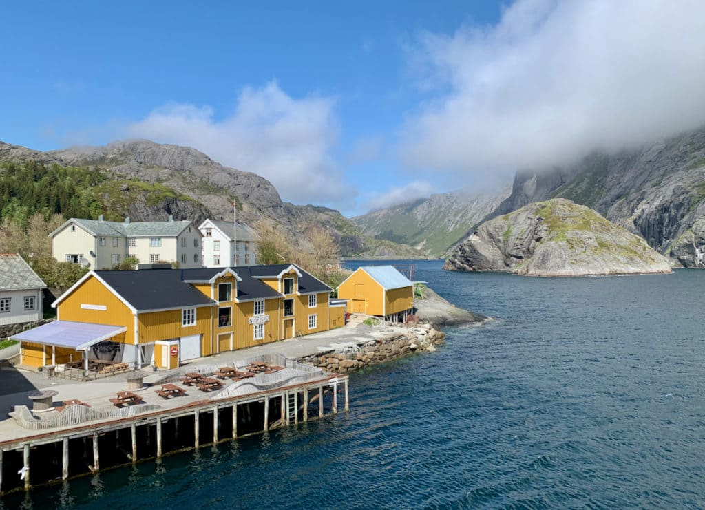 NUSFJORD (Norwegian Scenic Route Lofoten): The idyllic village of Nusfjord has accommodation, a restaurant, a café, and a spa.